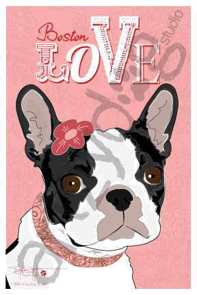 Print: Boston Terrier: Boston Love