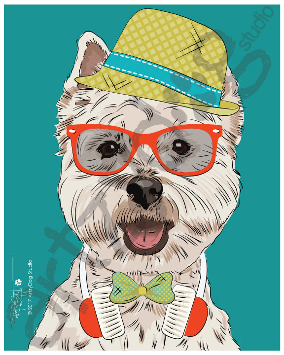 Print: Westie - Hipster: Cheerful