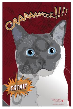 Print: Siamese Cat: Crack Catnip