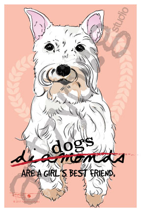 Print: Schnauzer: Dogs are a girl's best friend.