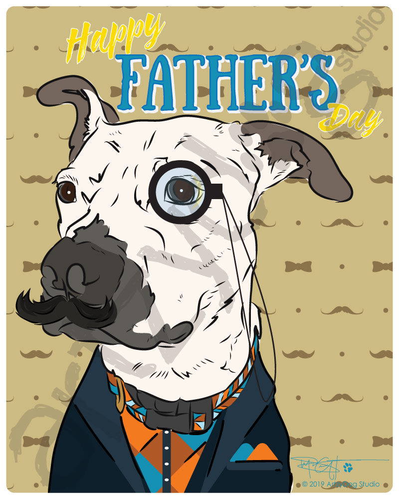 Print: Pitbull Gentleman - Happy Father's Day