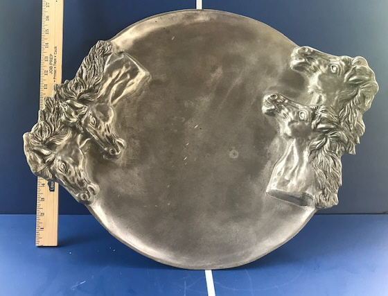 Horse Head Pewter Platter