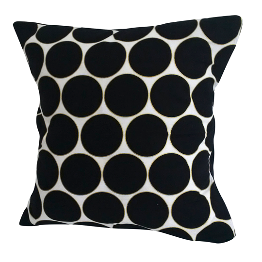 "Black & White ""Large Polka"" Pillow Cover"