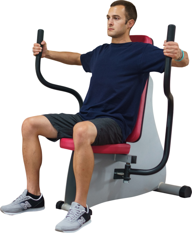 man doing fly workouts on fitness machine