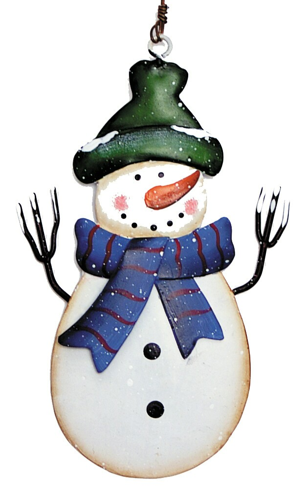 Snowman with Blue-Green Hat