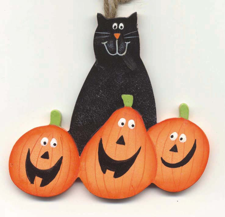 Boo Cat With Pumpkins
