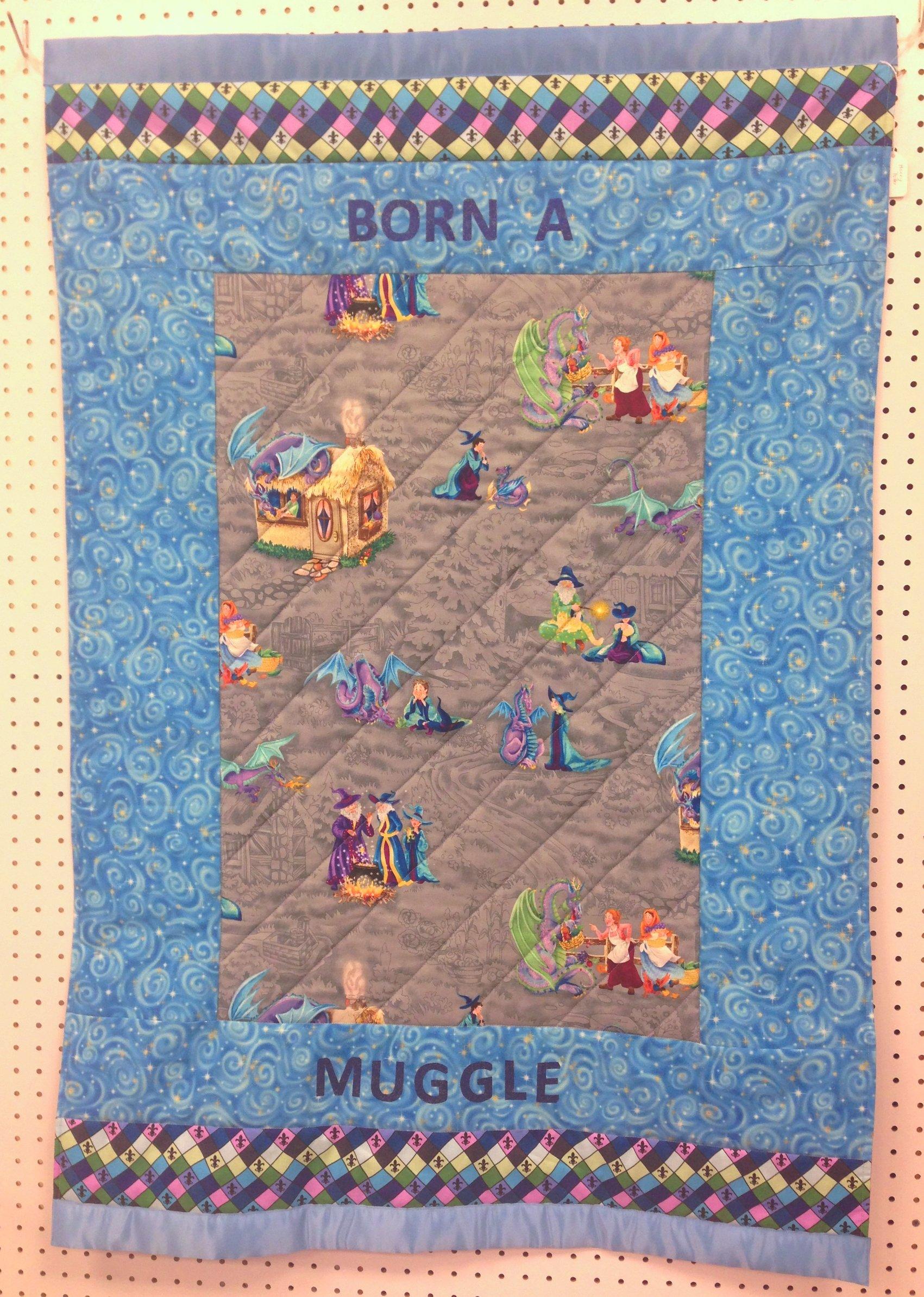 Born a Muggle crib quilt (blue)
