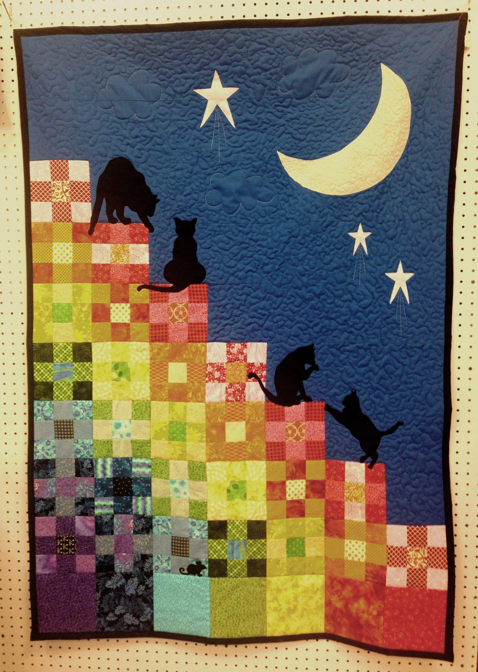 Catscape lap-sized quilt - (rainbow)