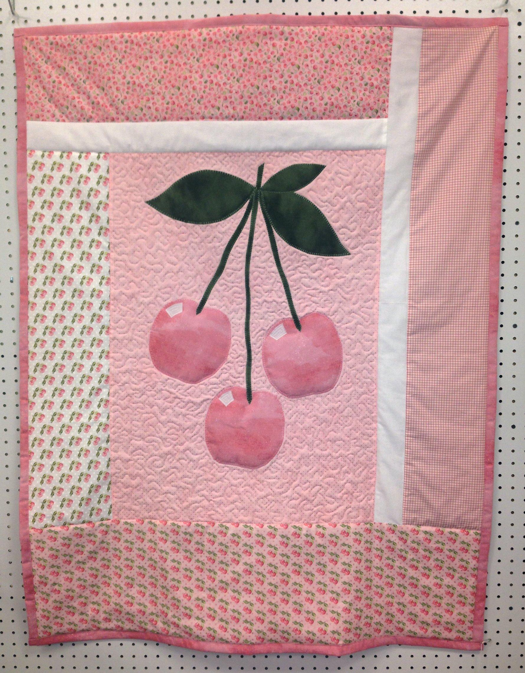 Pink Cherries crib quilt