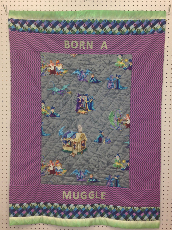 Born a Muggle crib quilt (purple)