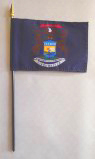 "5 Pack of 4"" x 6"" State of Michigan Flag on Staff"