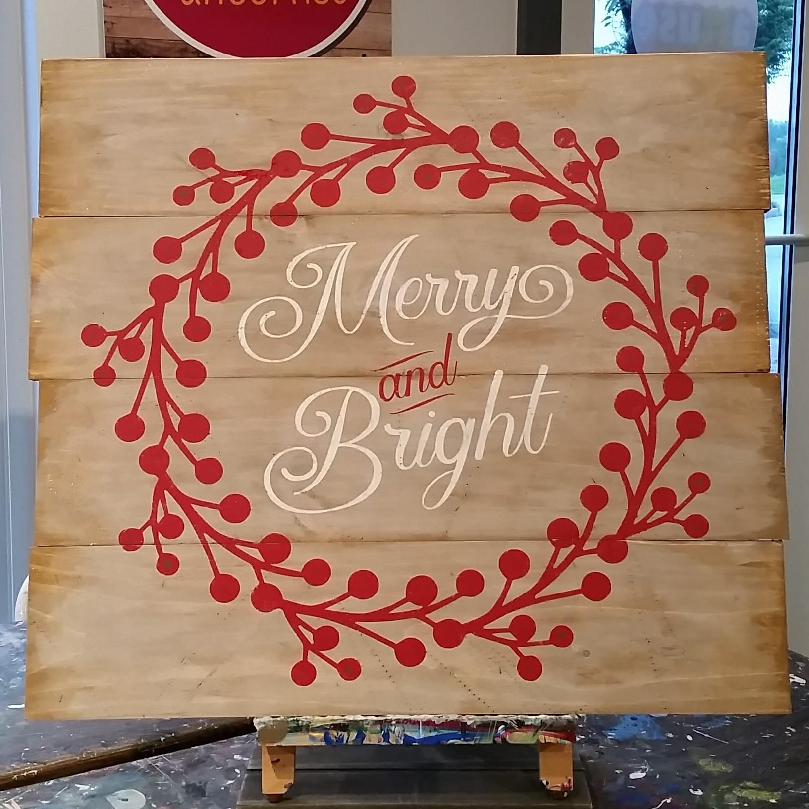 Handmade Merry & Bright Wood Sign