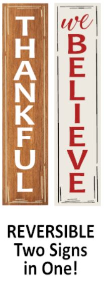 """Thankful / We Believe"" REVERSIBLE DIY Wood Porch Sign Kit (12inx48in)"