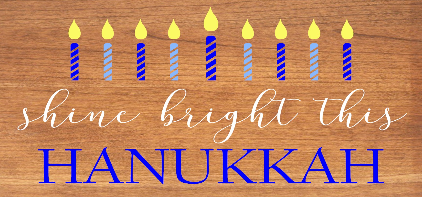 """""""Shine Bright This Hannukah"""" DIY Christmas Wood Sign Kit (12inx24in)"""