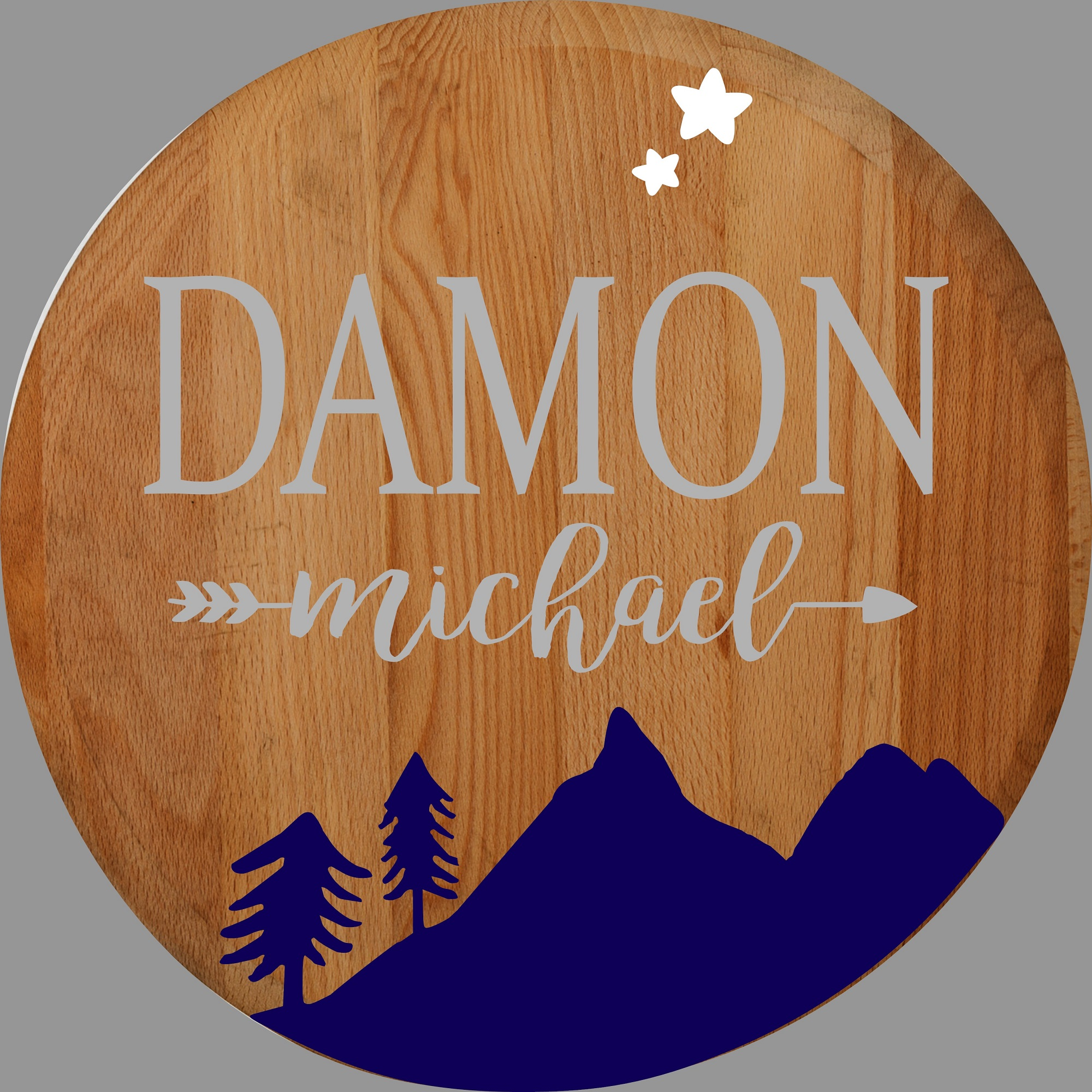 """Customizable Baby Boy Rustic Round Sign"" DIY Wood Sign Kit (17in Round)"