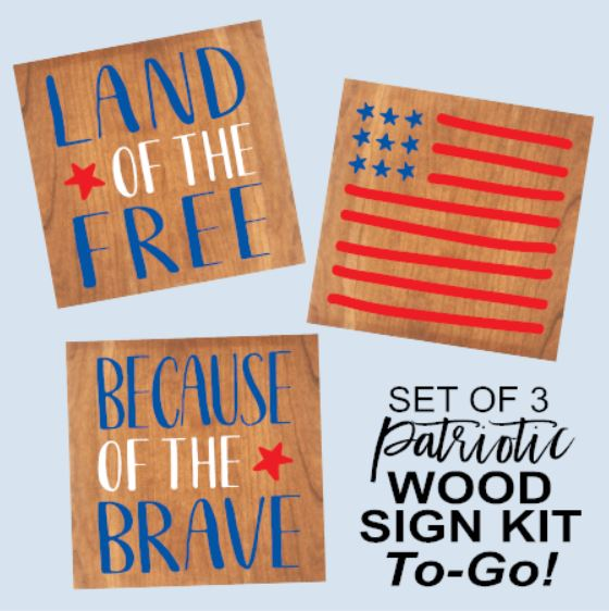 """Set of 3 Patriotic Signs"" DIY Wood Sign Kit (Each 9inx9in)"