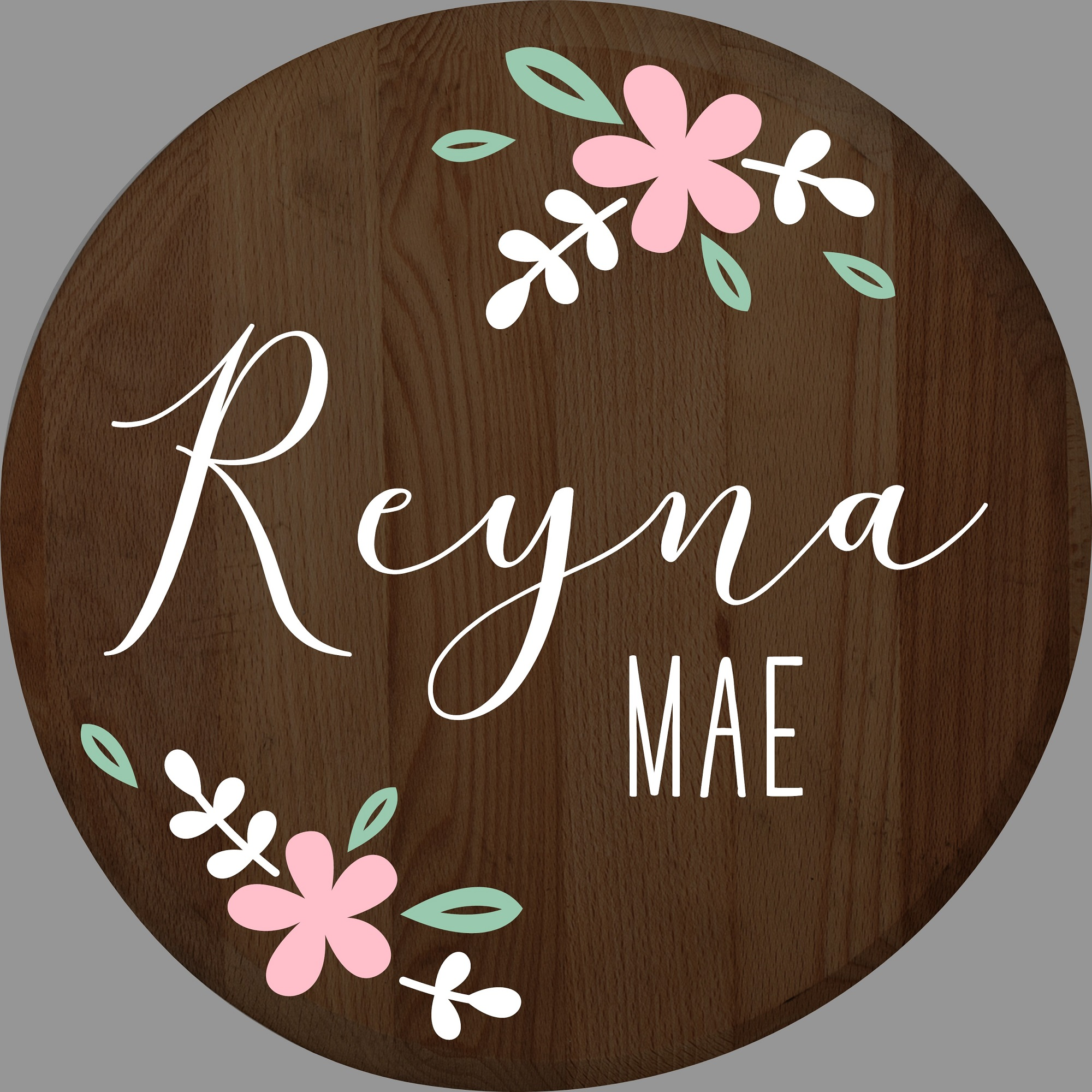 """Customizable Baby Girl Floral Round Sign"" DIY Wood Sign Kit (17in Round)"