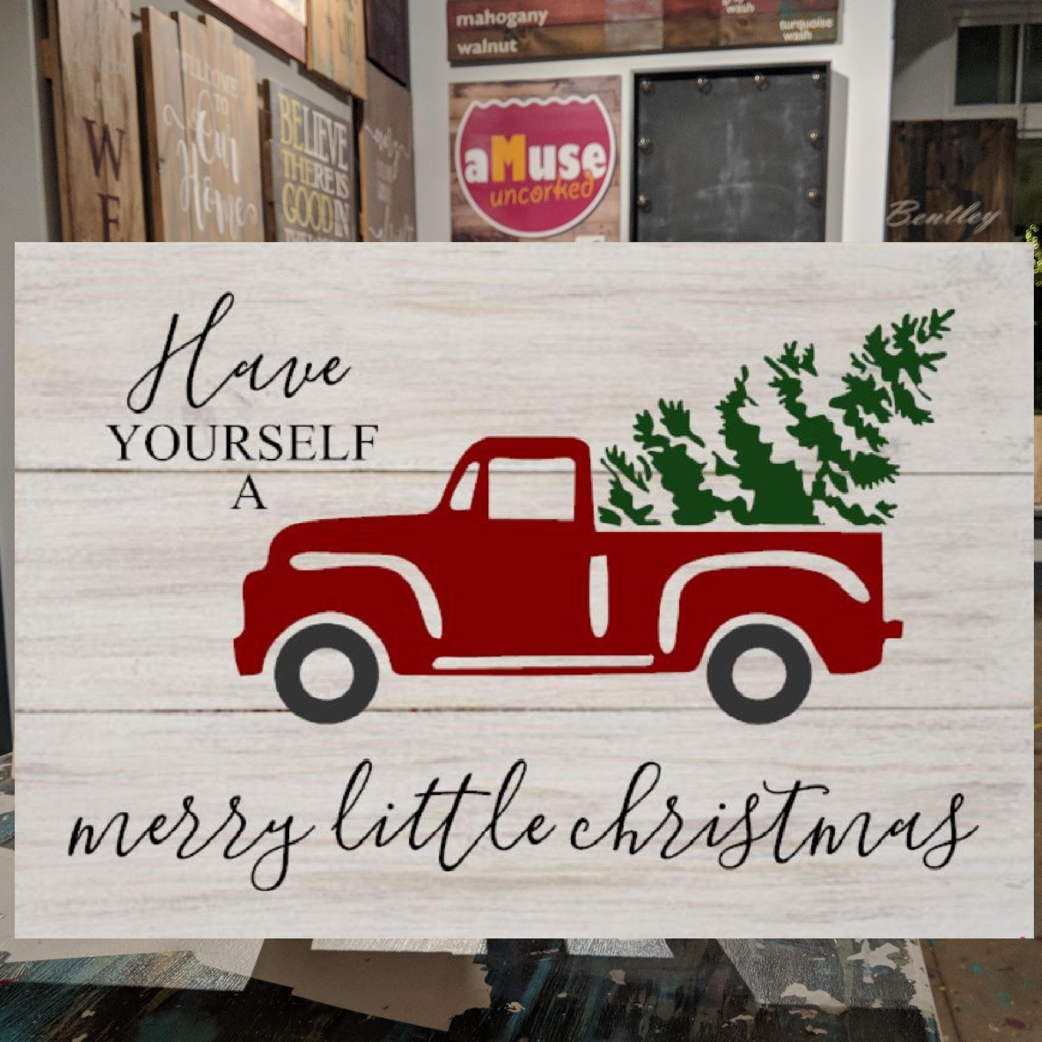 Handmade Christmas Truck Wood Sign