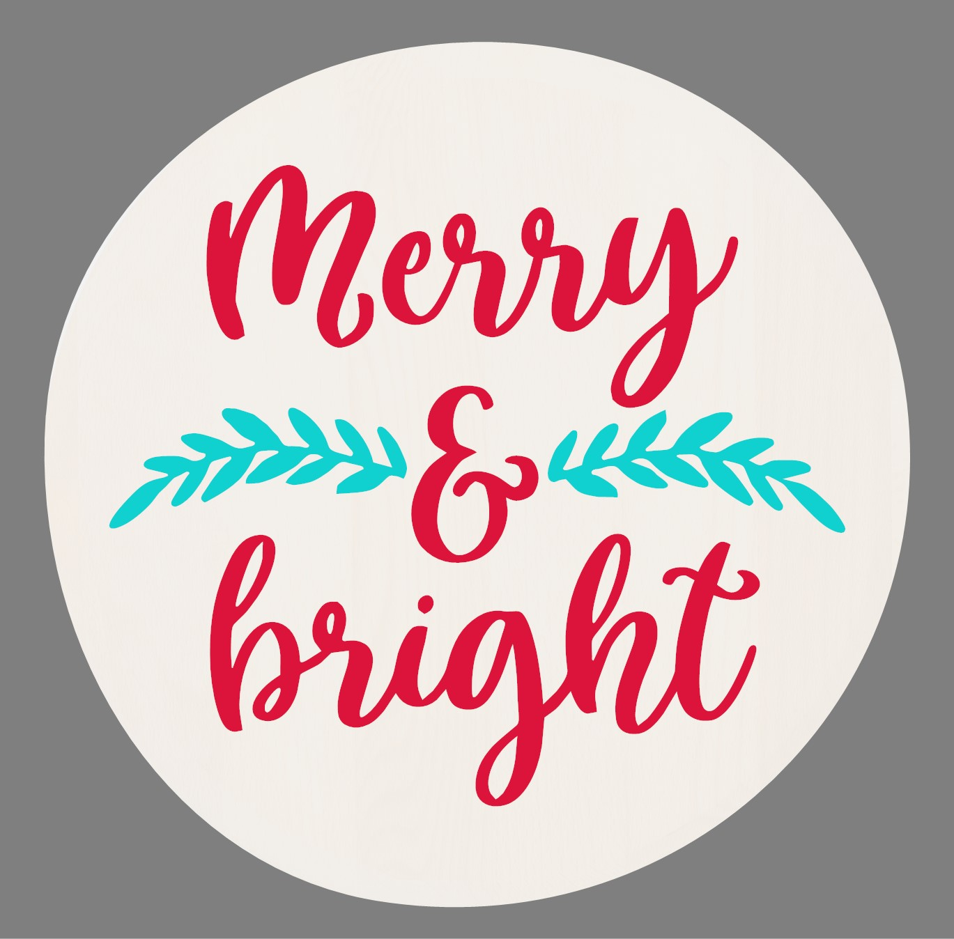 """""""Merry & Bright"""" Christmas Lazy Susan/Round Sign"""" DIY Wood Sign Kit (17in Round)"""
