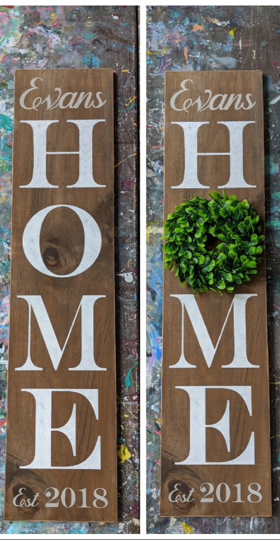 "Customizable ""Home"" DIY Wood Porch Sign Kit INCLUDING WREATH!  (12inx48in)"