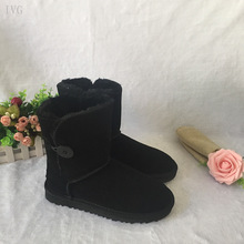 WOMEN'S HALF UGG BOOTS HTB1 ONE BUTTON BLACK