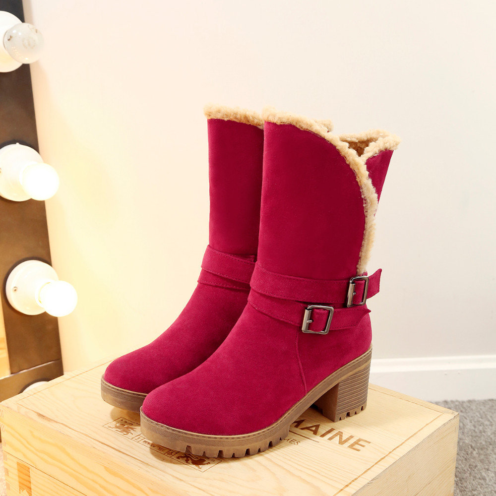 WOMEN'S SUEDE BUCKLE BOOTS HTB1 RED