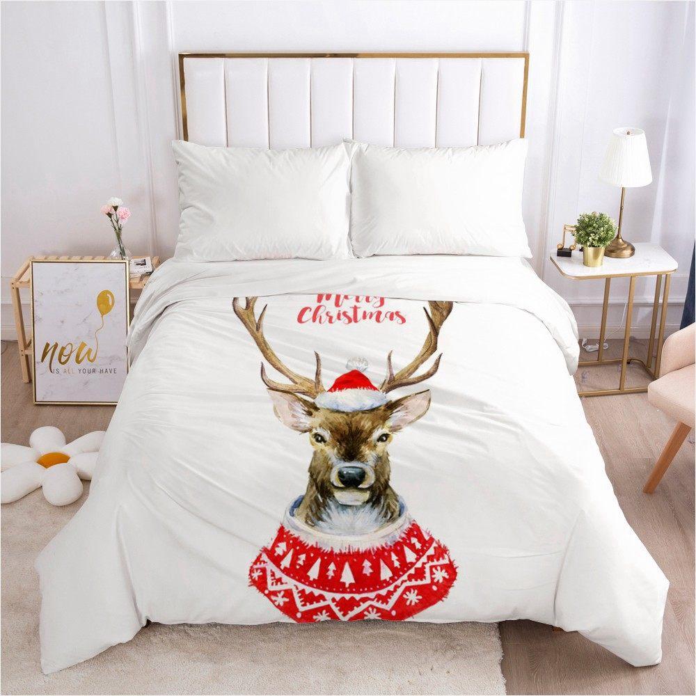 CHRISTMAS DEER BED SET HTB1 WHITE