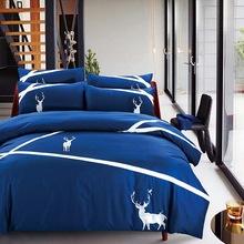 QUEEN NORDIC BLUE DEER BED SET