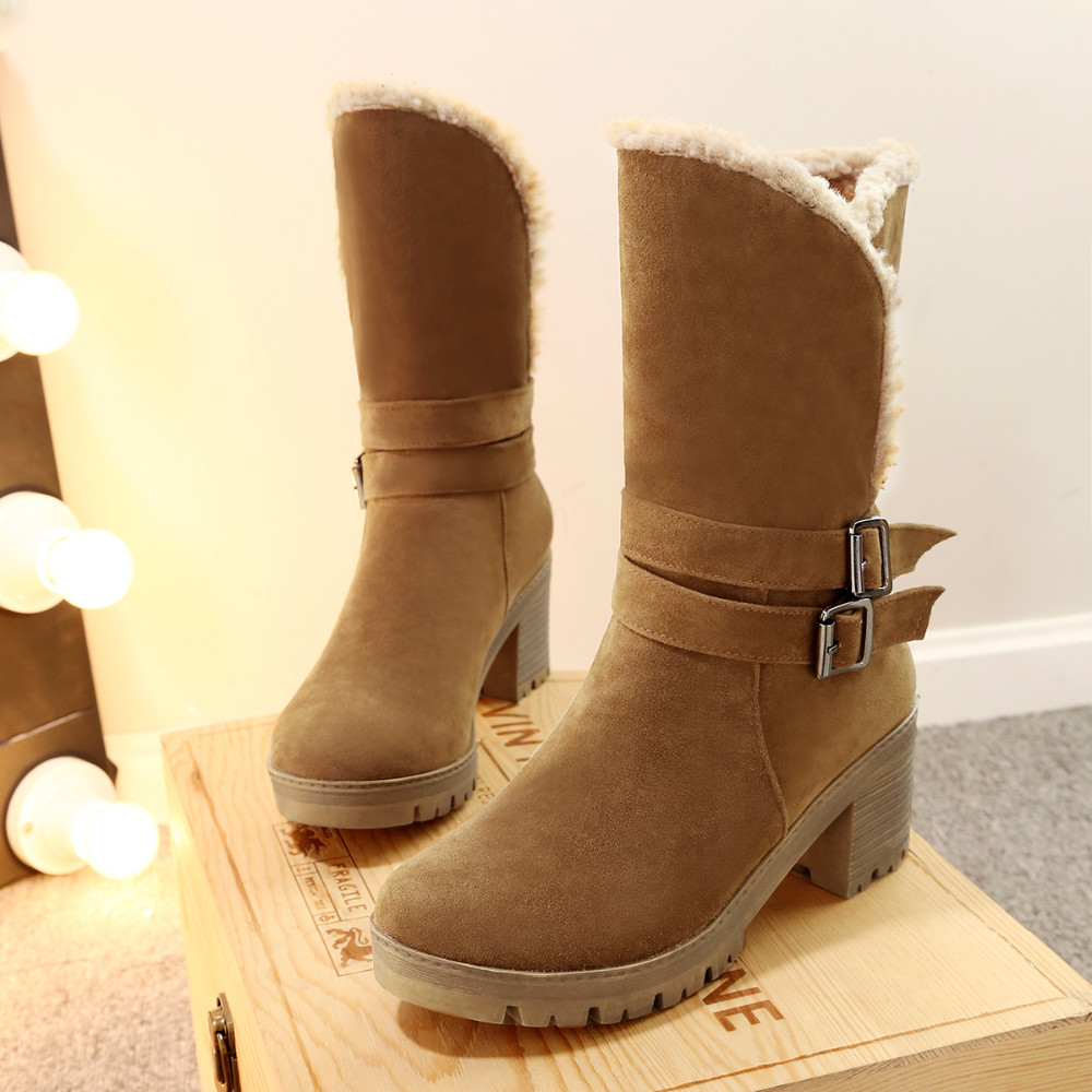 WOMEN'S SUEDE BUCKLE BOOTS HTB1 TAN