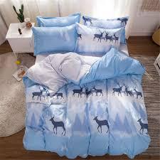 BLUE /WHITE DEER BED SET