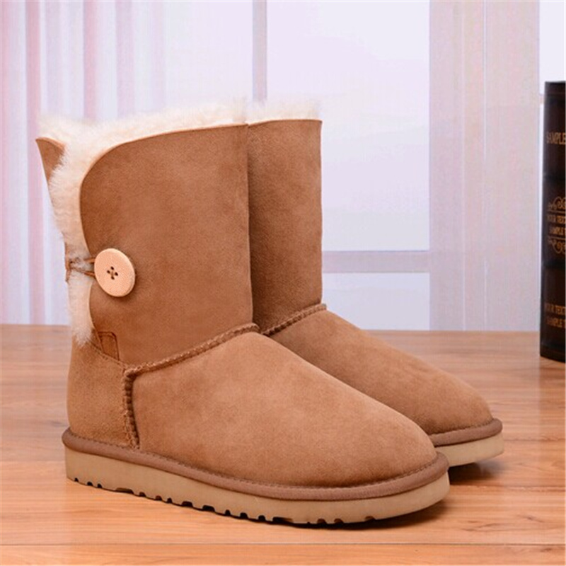 WOMEN'S HALF UGG BOOTS HTB1 ONE BUTTON TAN