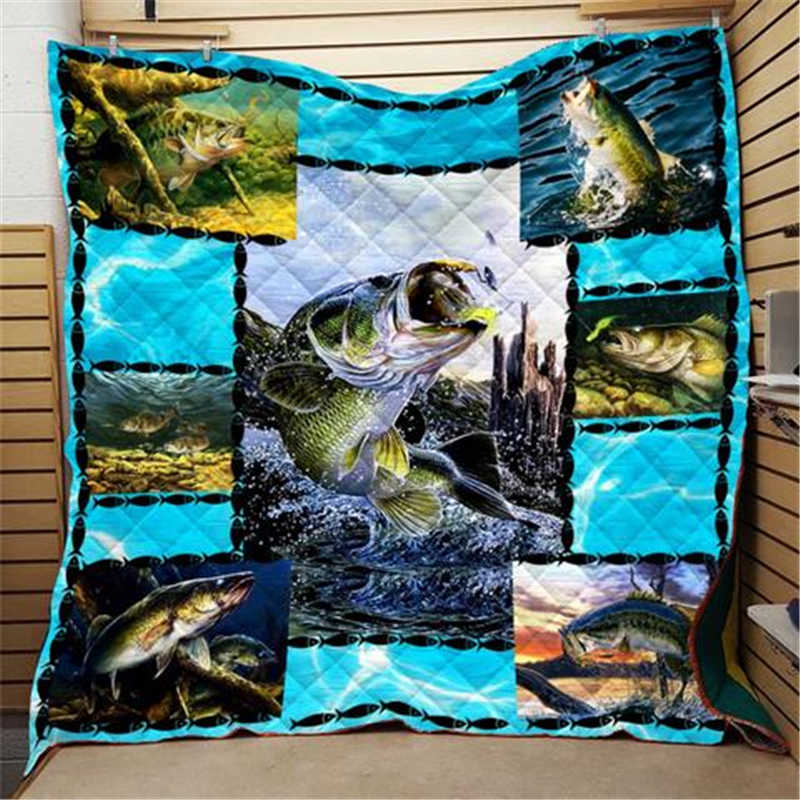 FISHING QUILTED BLANKET HTB1 FISH