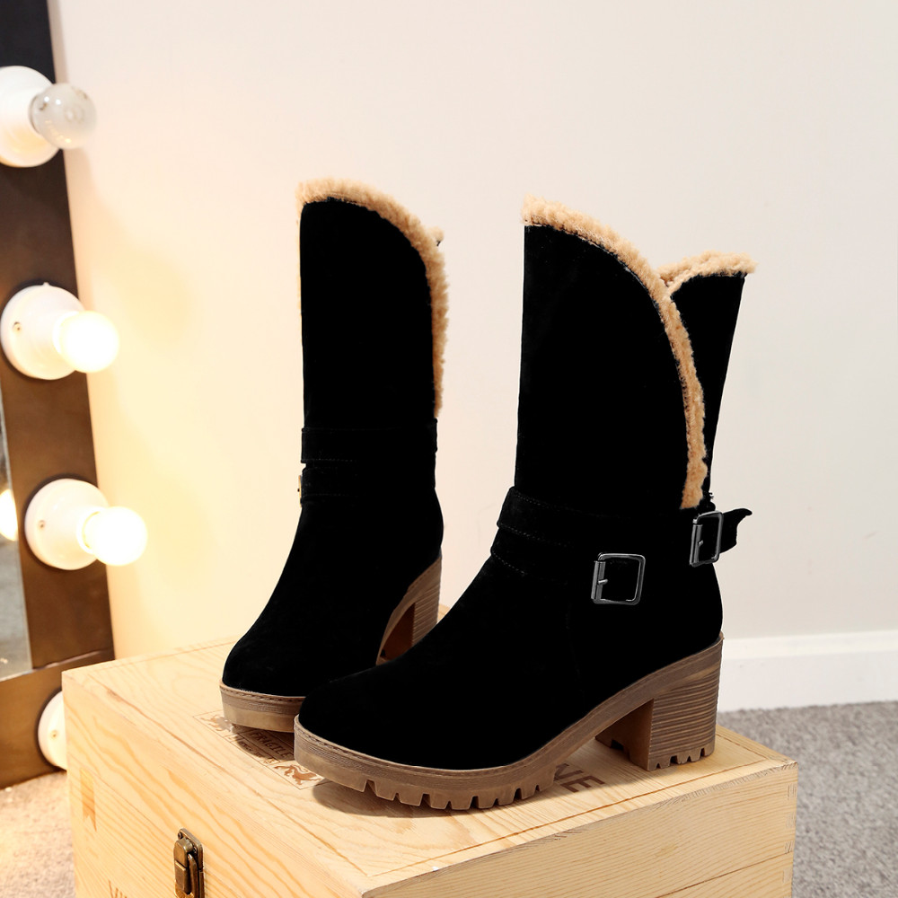 WOMEN'S SUEDE BUCKLE BOOTS HTB1 BLACK