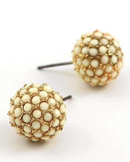 GOLD TONE /WHITE RESIN PAVE BALL /BUTTON /POST EARRING SET