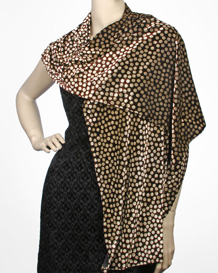 Beige Brown / Stretch Velvet Printed Shawl: Dots