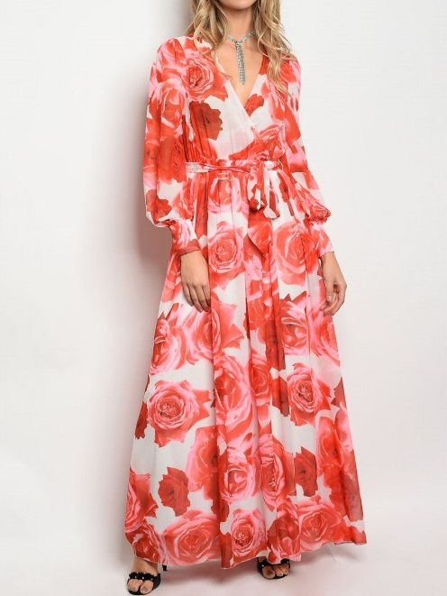 IVORY RED FLORAL DRESS