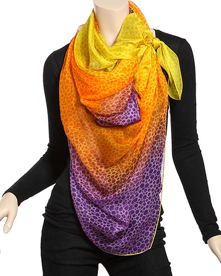 Purple & Yellow / Poly Printed Mesh Scarf