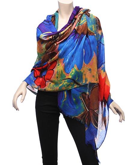 Blue & Multi Color / 100% Viscose / Flower / Digital Print
