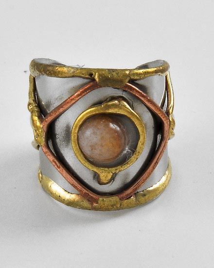 TRI-TONE METAL /COLOR MAY VARY STONE /CUFF RING /HAND MADE