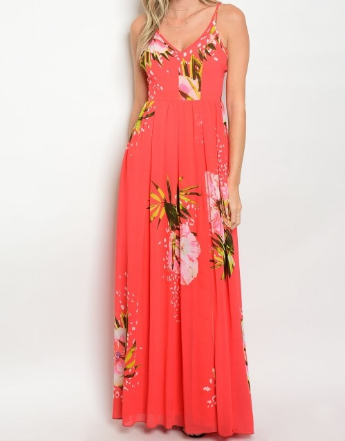 CORAL WITH FLOWER PRINT DRESS