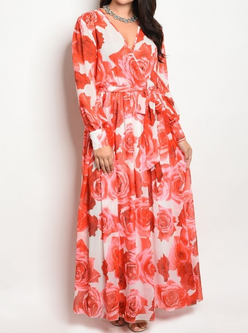 IVORY RED FLORAL (PLUS SIZE)