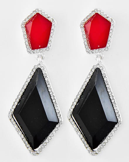SILVER TONE /BLACK & RED ACRYLIC /CLEAR RHINESTONE /DANGLE /POST EARRING SET