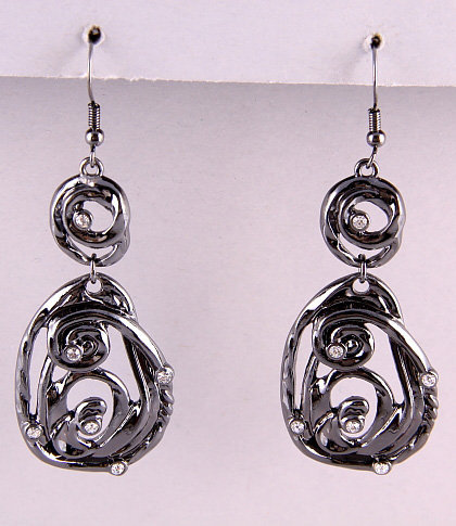 HEMATITE CRYSTAL /DANGLE /FISH HOOK EARRING SET