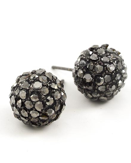 HEMATITE TONE /HEMATITE RHINESTONE PAVE BALL /BUTTON /POST EARRING SET