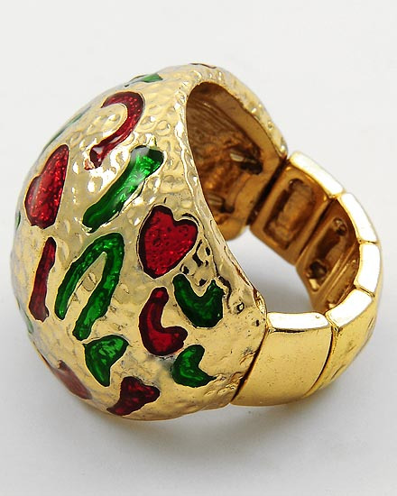 GOLD TONE /GREEN & RED EPOXY /STRETCH RING