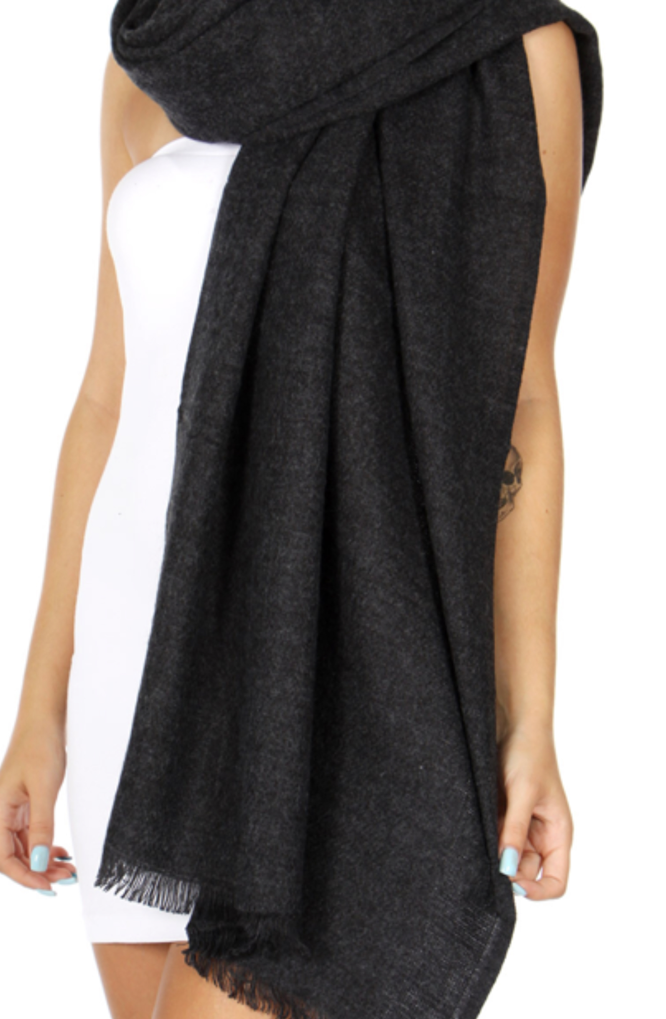 Oversized solid woven scarf