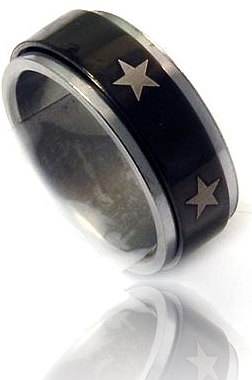 Stainless Steel Star Spinner Ring