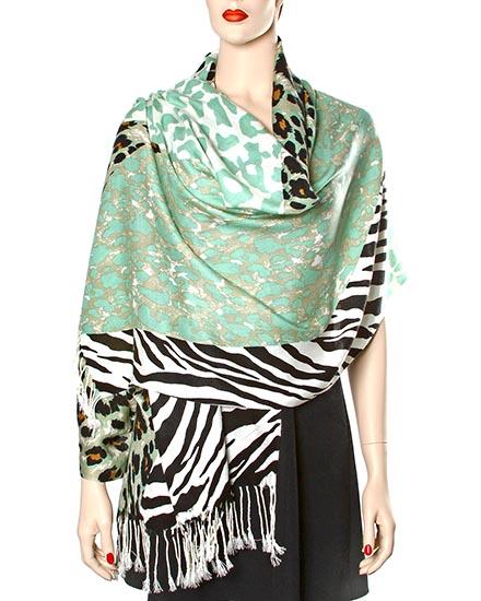 Black & Mint / 100% Acrylic / Zebra Printed Woven Wrap