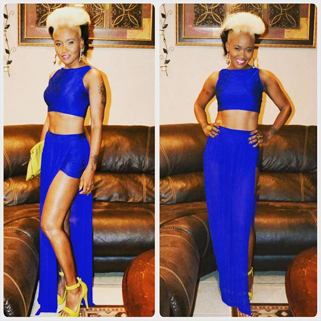 Two piece royal blue outfit