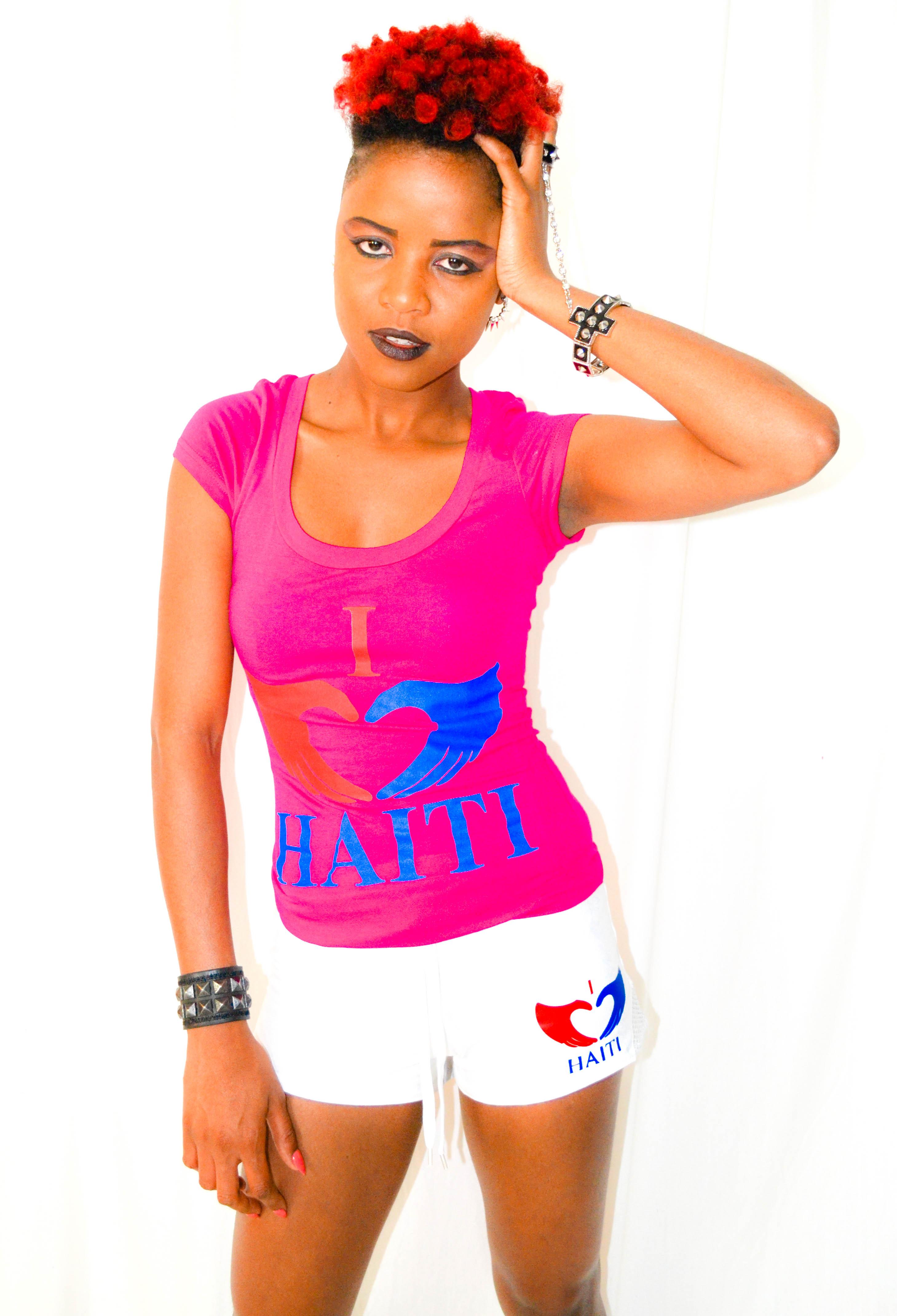 Scoop Neck I Love Haiti T-shirt